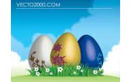 Green And Black Easter Eggs 22 Background Wallpaper