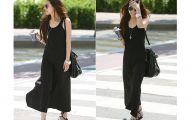 Long Plain Black Dress 8 Widescreen Wallpaper