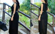 Plain Black Maxi Dress 35 High Resolution Wallpaper