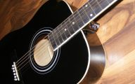 Blue And Black Acoustic Guitar  11 Background Wallpaper