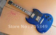 Blue And Black Acoustic Guitar  15 Widescreen Wallpaper