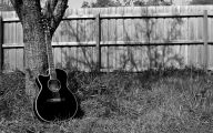 Blue And Black Acoustic Guitar  35 Background Wallpaper