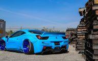 Black And Blue Ferrari 8 Wide Wallpaper