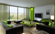 Green And Black Living Room  3 Hd Wallpaper