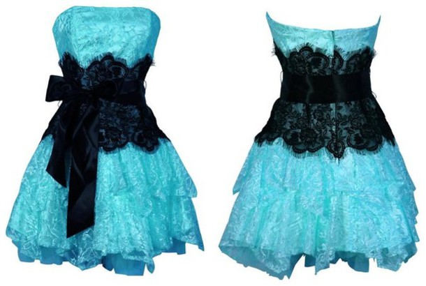 Short blue dress with black lace