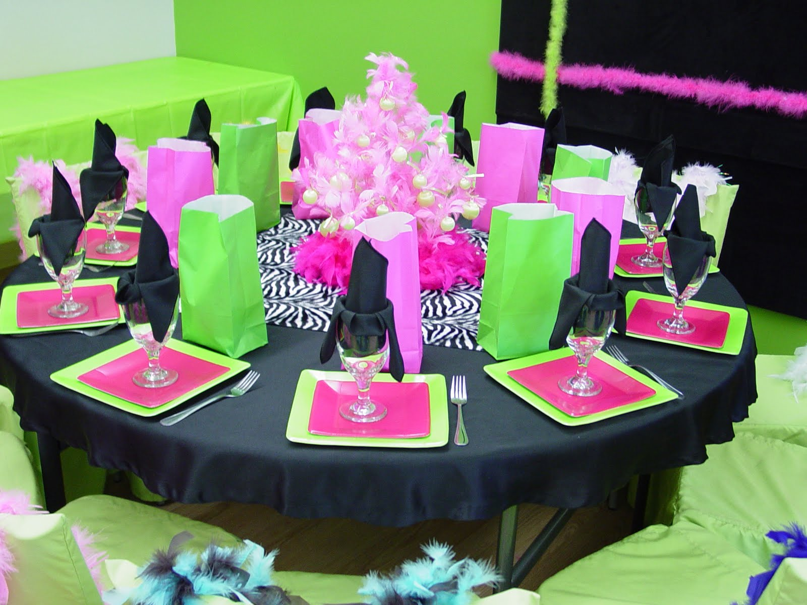 Pink and black party decorations cool wallpaper