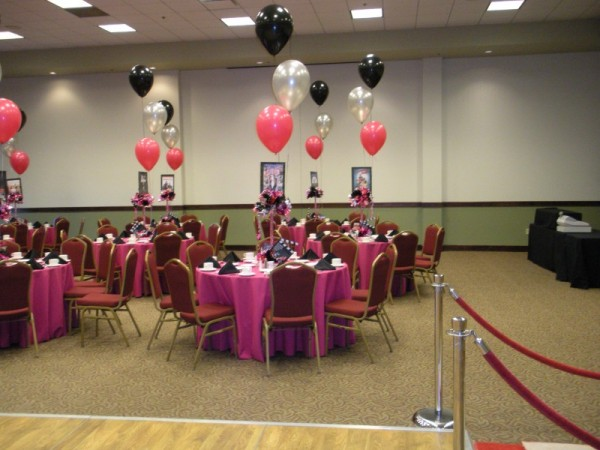 Pink and black party decorations wide wallpaper