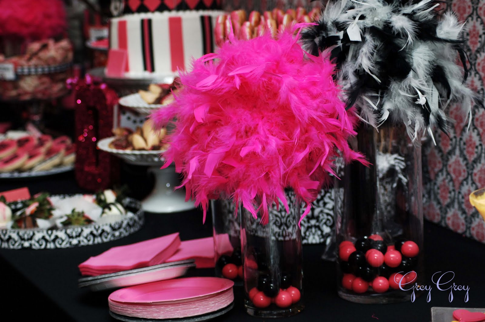 Pink and black party decorations cool hd wallpaper