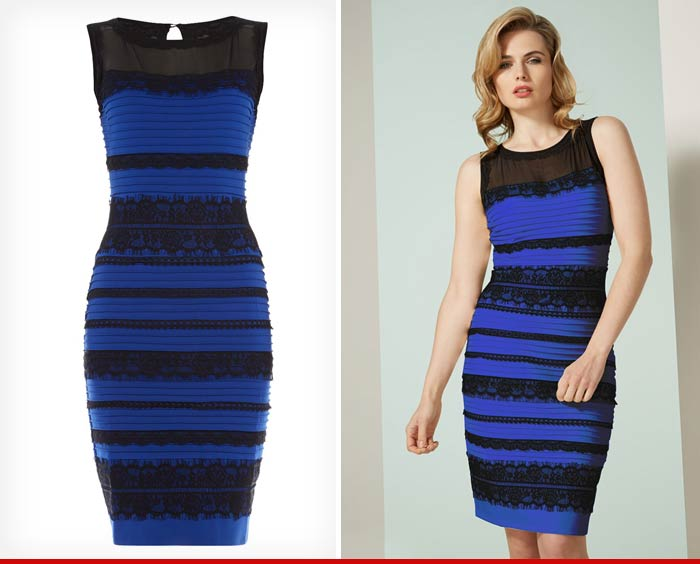 Blue and black or white and gold original dress black