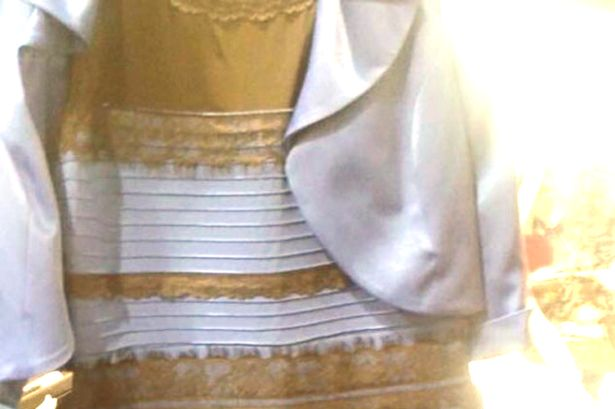 Black and blue and gold and white dress meaning
