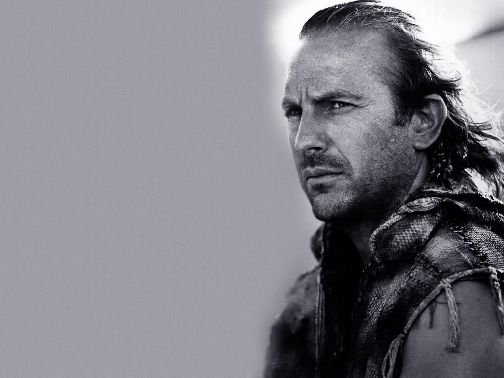 Black And White Kevin Costner 31 Widescreen Wallpaper