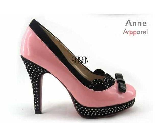 Pink and black dress shoes for women