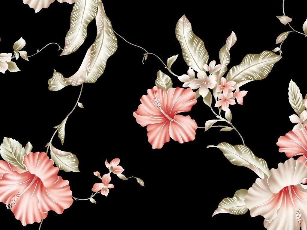 Floral Wallpaper With Black Background 24 Desktop