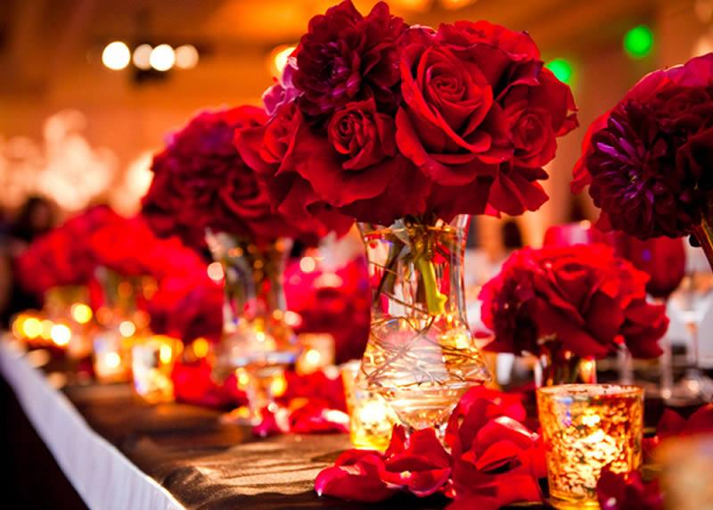 Pretty Red and Gold Wedding Centerpieces  gotohomerepaircom