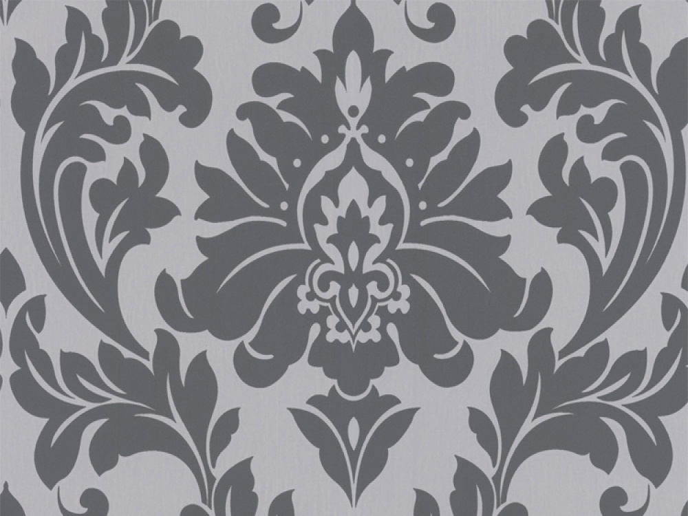 Black and white damask wallpapersilver wallpaper for Black and grey wallpaper designs