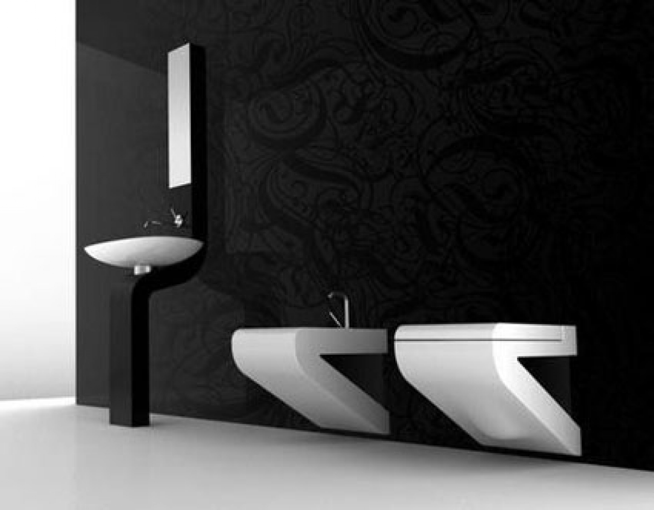 Black And White Wallpaper For Bathroom 16 Background Wallpaper