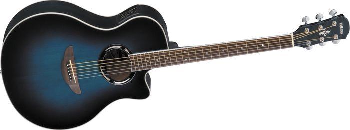 Blue And Black Acoustic Guitar 23 Desktop Background