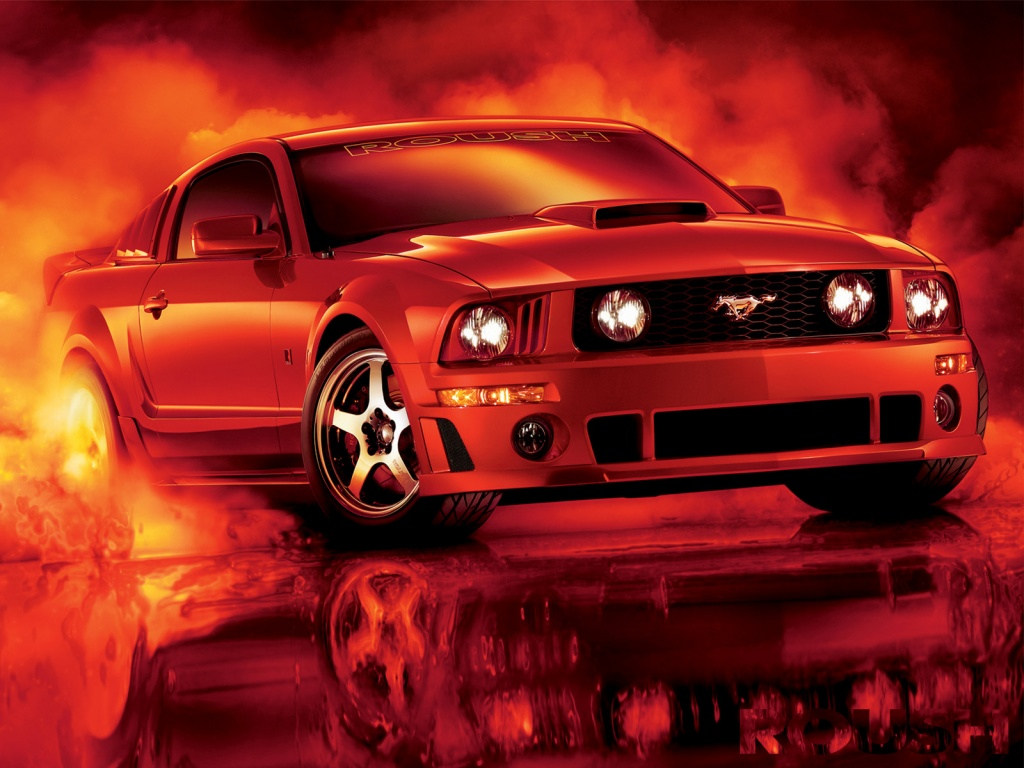 Red And Black Mustang Cars 22 High Resolution Wallpaper