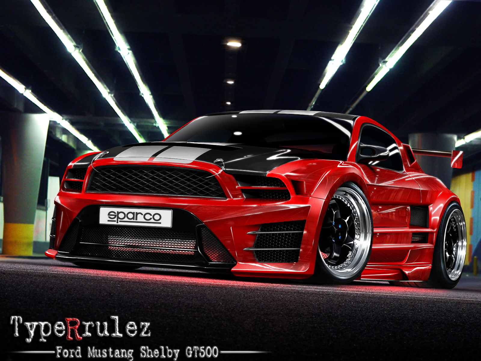 Red And Black Car Wallpapers: Red And Black Mustang Cars 11 Background Wallpaper