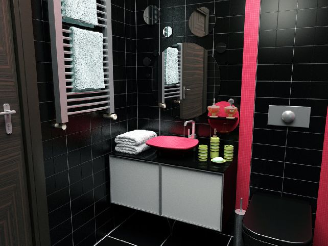 Black and pink bathroom ideas 27 wide wallpaper for Cool bathroom wallpaper