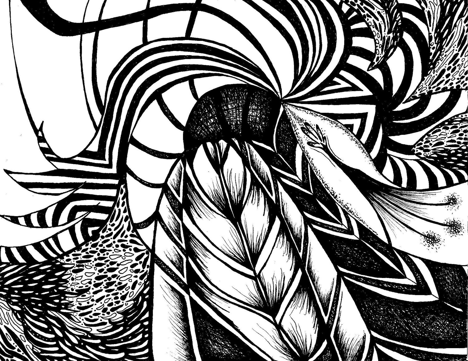 Abstract Line Drawing Artists : Black and white abstract drawings wide wallpaper