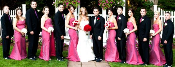 pink black and white weddings