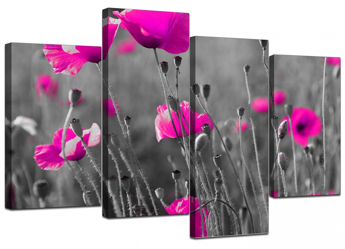 black and pink canvas wall art wall decor large pink