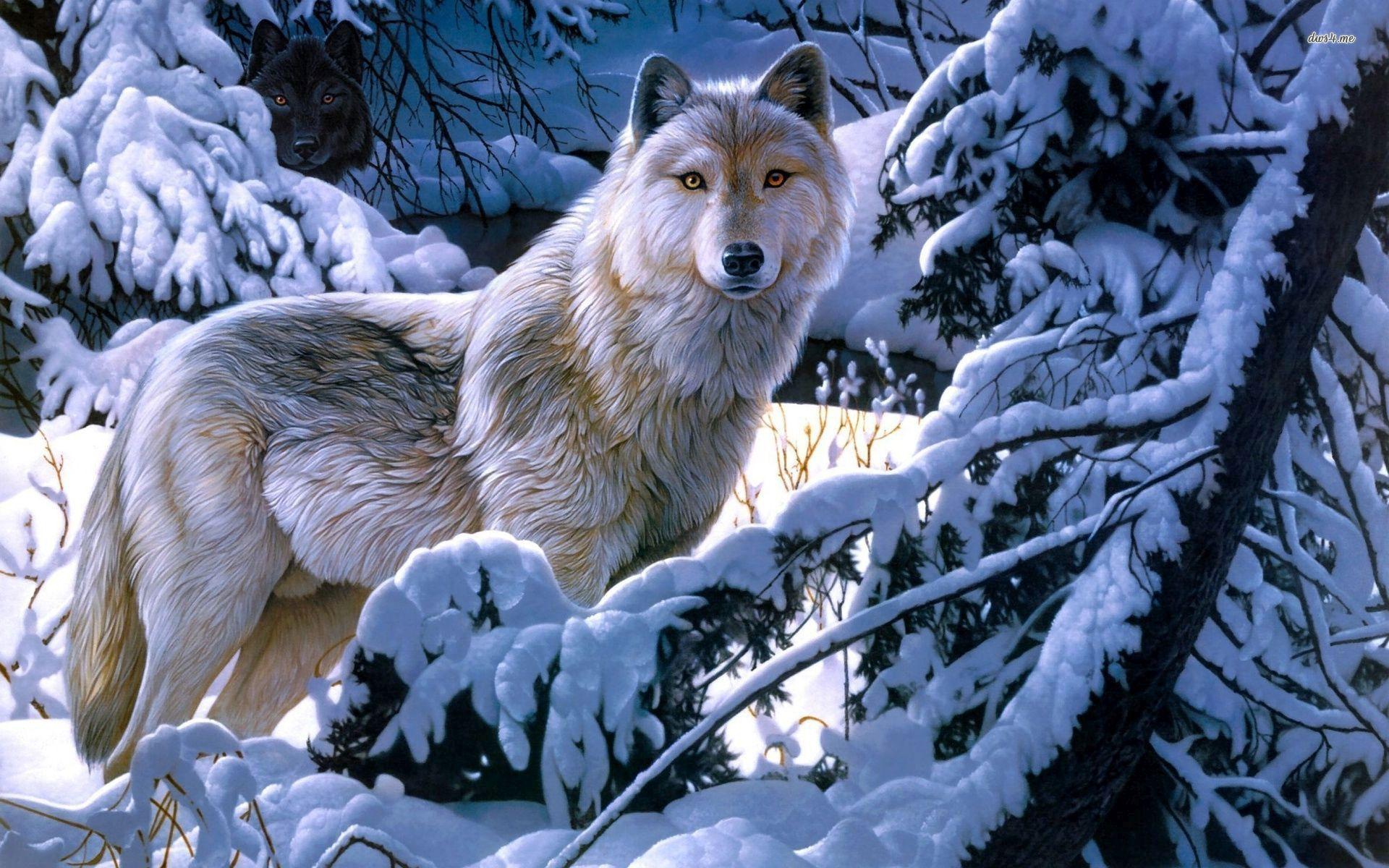 Black And White Anime Wolves 3 Background Wallpaper ...