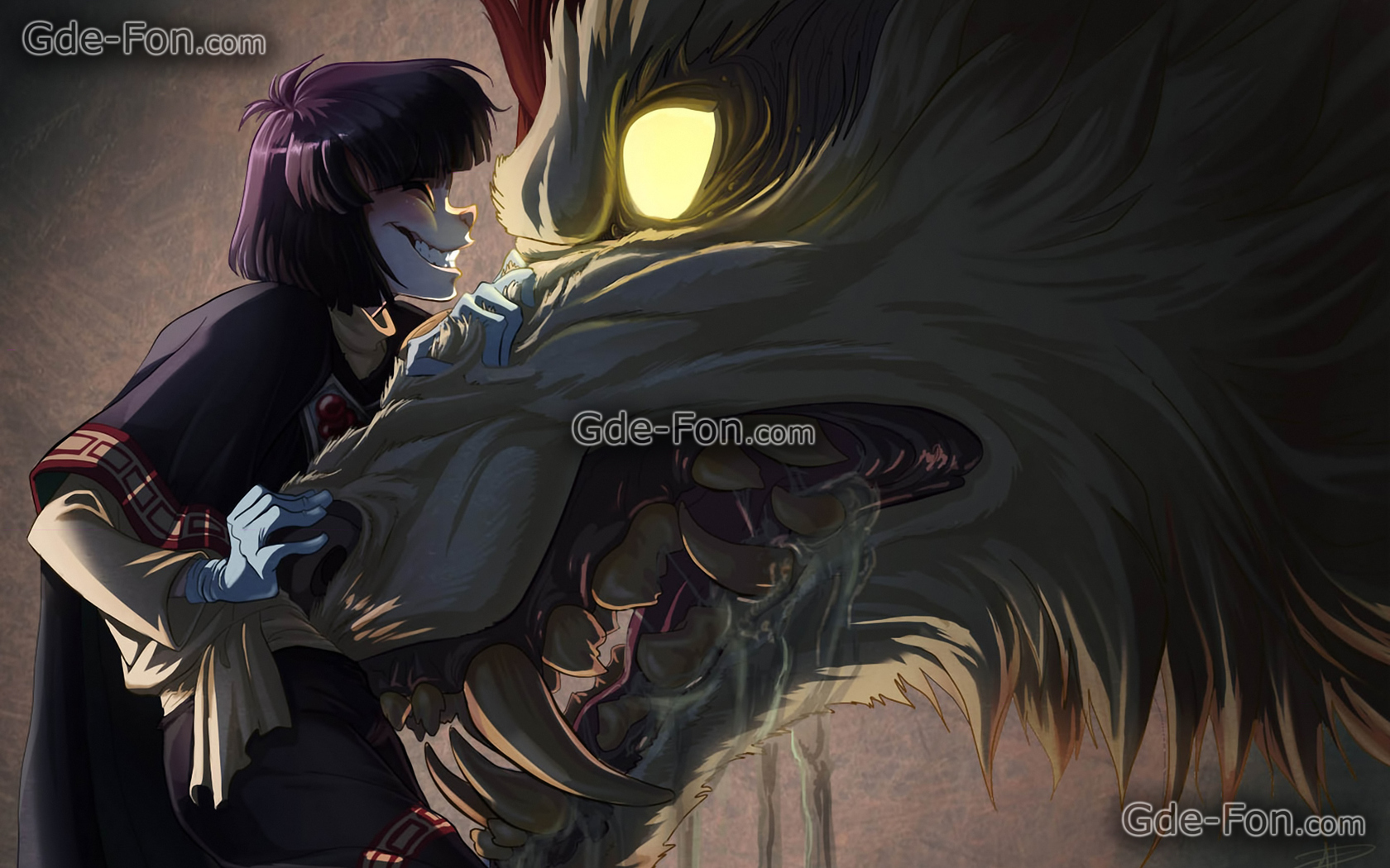 Black anime wolf 8 wide wallpaper - Wolf girl anime pictures ...