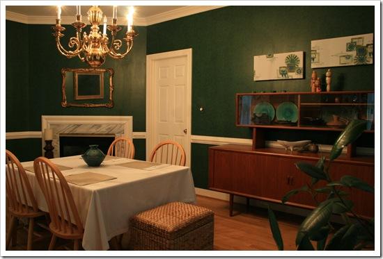 black green dining room