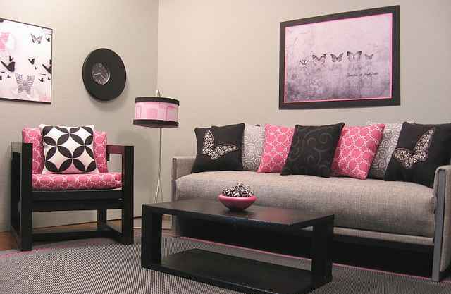 Pink and black decor 3 widescreen wallpaper for Wide wallpaper home decor